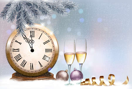 Holiday retro background with champagne glasses and clock. Happy New Year. Vector illustration