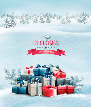 present: Holiday Christmas background with gift boxes. Vector.