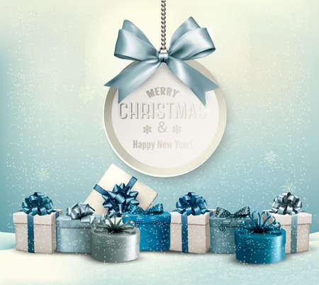 kutlamalar: Bir şerit ve hediye kutuları ile Merry Christmas kartı. Vektör.