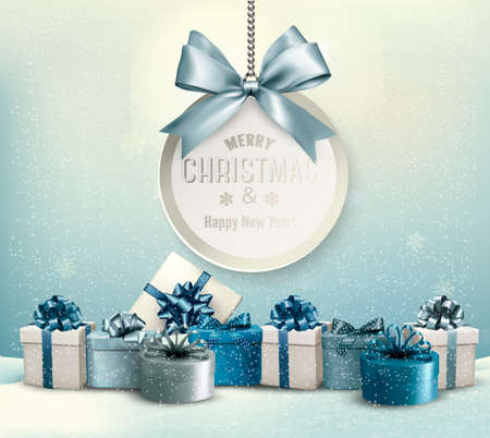 Merry Christmas card with a ribbon and gift boxes. Vector.
