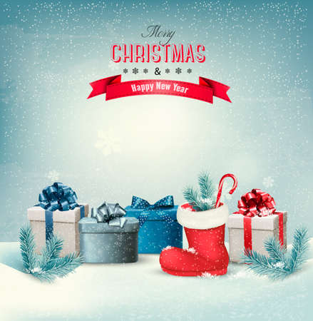 Holiday Christmas background with gift boxes and a boot. Vector. Stock Illustratie