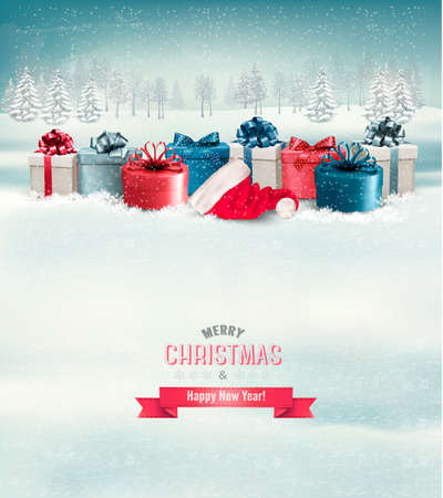 red gift box: Holiday Christmas background with gift boxes. Vector.