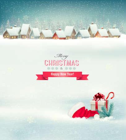 Fondo de vacaciones de Navidad con un pueblo, un sombrero y una caja de regalo. Vector.