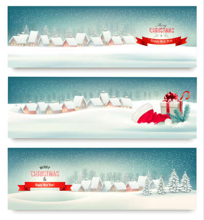 Holiday Christmas banners with villages. Vector. Vectores