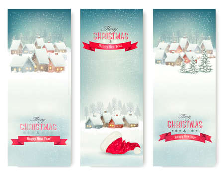 Holiday Christmas banners with villages. Vector. Ilustracja