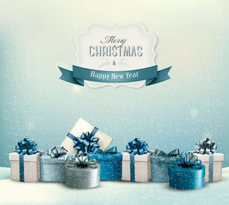 christmas greeting: Holiday Christmas background with a border of gift boxes. Vector.