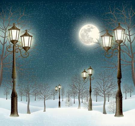 Kerst avond winterlandschap met lantaarnpalen. Vector.