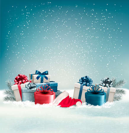blue christmas background: Winter background with presents. Vector. Illustration