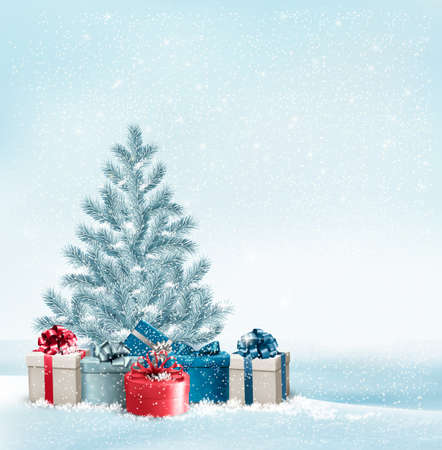 Christmas tree with presents background. Vector. Vector