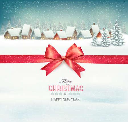 Background vacanze di Natale con un villaggio e un nastro rosso dono. Vector.