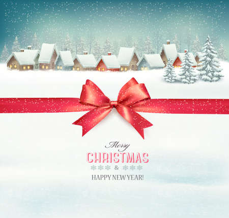 Holiday Christmas background with a village and a red gift ribbon. Vector. Ilustração