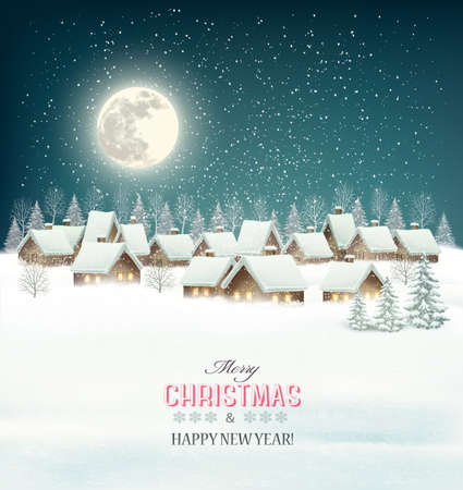 winter tree: Winter village night background. Vector.