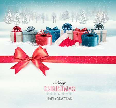 Holiday Christmas background with colorful gift boxes and a red gift ribbon. Vector.