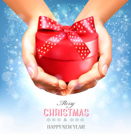 giving gift: Holiday christmas background with hands holding gift box. Concept of giving presents. Vector Illustration