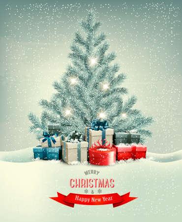 Árbol de Navidad con regalos de fondo. Vector.