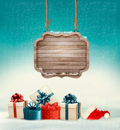 Christmas background with a retro wooden sign and gift boxes. Vector.