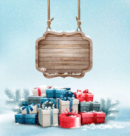 surprise box: Christmas background with a retro wooden sign and gift boxes. Vector.