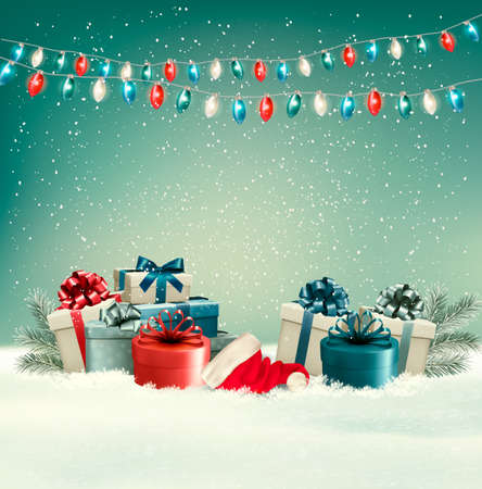 Winter christmas background with gifts and a garland. Vector.