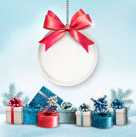 Christmas presents with a label and a ribbon. Vector. Çizim