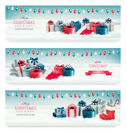 navidad estrellas: Tres banderas de la Navidad con los presentes. Vector.