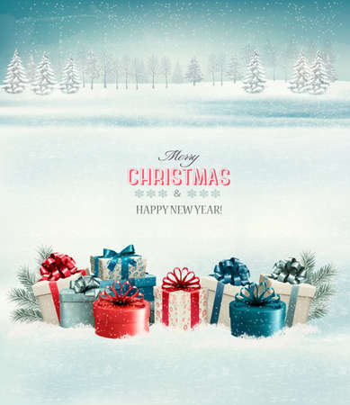 Holiday Decorations: Holiday Christmas background with gift boxes. Vector.