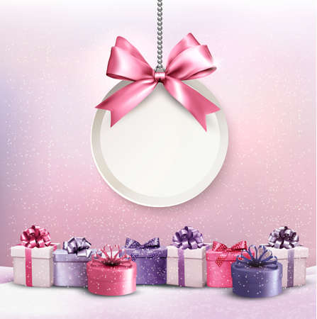 gift: Merry Christmas card with a ribbon and gift boxes.