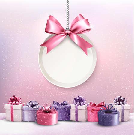 lazo rosa: Tarjeta de Navidad feliz con una cinta y cajas de regalo. Vectores