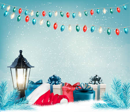 seasons greetings: Christmas background with a lantern and presents. Vector.