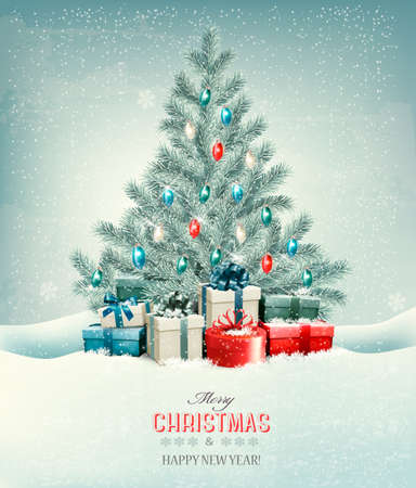 snow tree: Christmas tree with presents background. Vector.