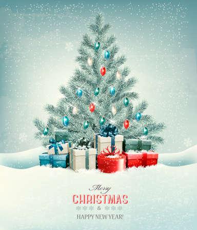 cajas navide�as: �rbol de Navidad con regalos de fondo. Vector.