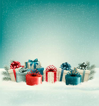 Christmas gift boxes in snow. Vector. Vectores