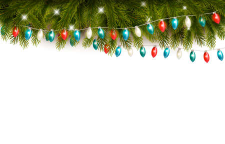 Christmas background with branches and a garland. Vector