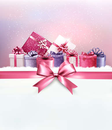 present: Merry Christmas card with a ribbon and gift boxes. Vector.