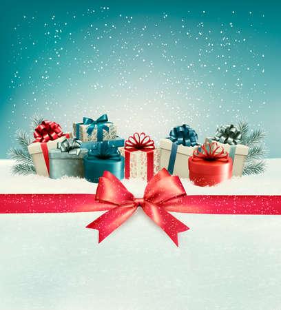 moños navideños: Fondo de Navidad con un arco y regalos. Vector. Vectores