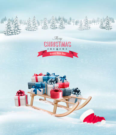 Winter background with Christmas presents on a sleigh and a santa hat. Vector.
