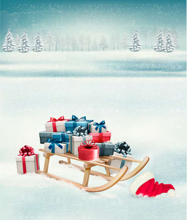 Christmas background with presents on a sleigh. Vector. Illustration