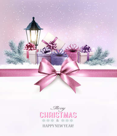 Christmas gift boxes in snow. Vector. Illustration