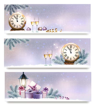 Three Christmas, New Year banners with gift boxes, lanterns and champagne. Vector Illustration