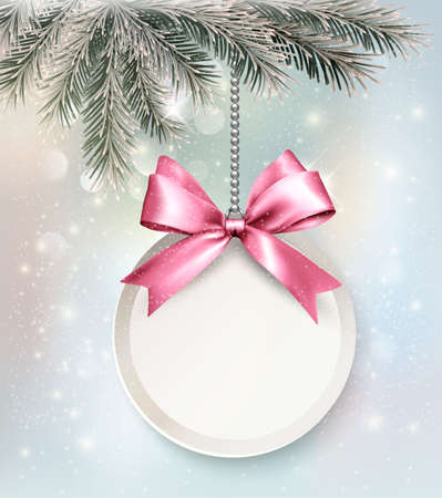 Holiday background with a label and a bow. Vector.