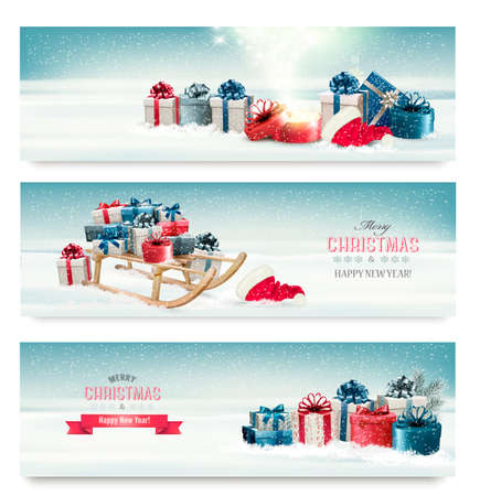 birthday present: Three Christmas banners with presents and a sleigh. Vector.