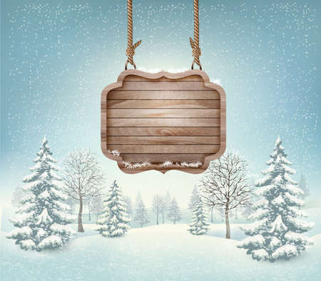 Winter landscape with a wooden ornate Merry christmas sign. Vector.