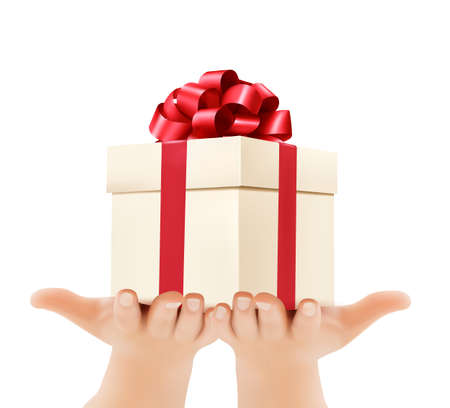 giving gift: Holiday background with hands holding gift boxes. Concept of giving presents.