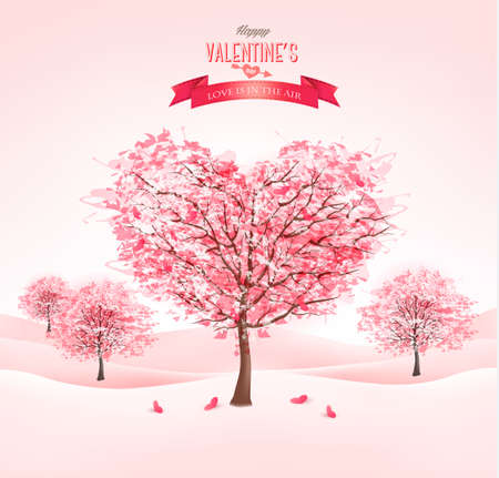romance: Pink heart-shaped sakura trees. Valentines day. Vector.