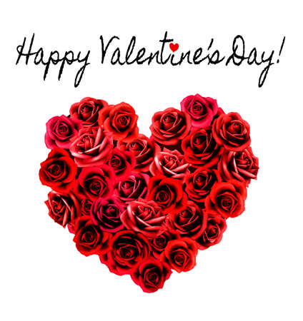 Valentines Day Background. Heart made of red roses. Vector.