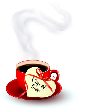 cup and saucer: Red cup of coffee with a heart shaped valentine note. Vector.