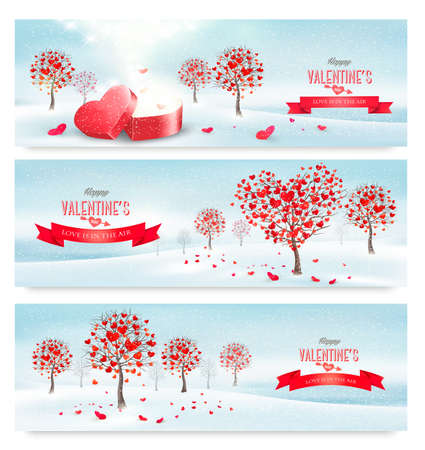 valentine's day: Holiday retro banners. Valentine trees with heart-shaped leaves. Vector Illustration