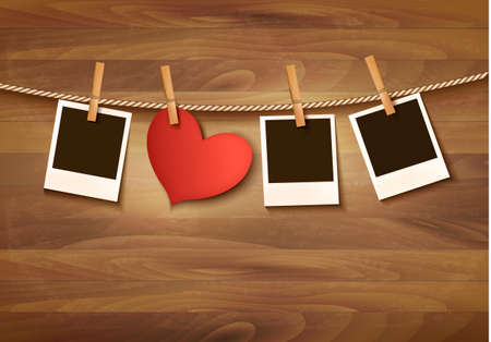 clothespin and rope: Background with two hearts and two photos. Valentines day vector.