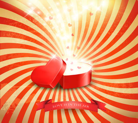 surprise box: Valentines day background with an open red gift box. Vector.