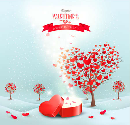 heart shaped box: Valentines day landscape with heart shaped trees and a magic gift box. Vector.