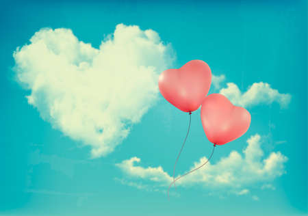 Retro Holiday background with heart shaped cloud on blue sky and red balloons. Valentine's Day. Vector illustration Vektorové ilustrace